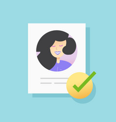 Approved user account profile document vector
