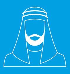 Arabic man in traditional muslim hat icon white vector