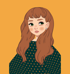 Autumn girl image cutie red woman vector