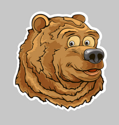 bear head sticker vector image