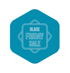 black friday sale banner icon outline style vector image