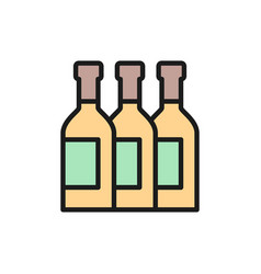 bottles wine alcohol champagne flat vector image