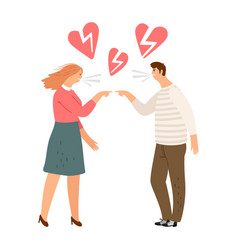 Broken hearts divorce concept vector