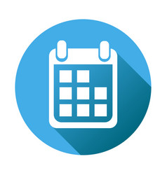Calendar icon on blue round background flat vector