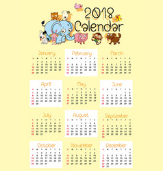 calendar template for 2018 with cute animals vector image