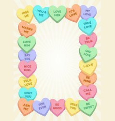 Candy hearts frame vector