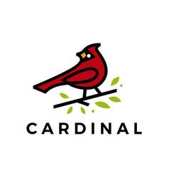 cardinal leaf line color fill logo icon vector image