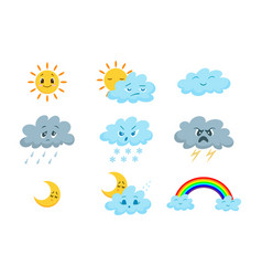 cartoon funny weather icon set vector image