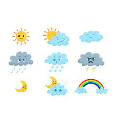cartoon funny weather icon set vector image