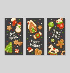 cartoon gingerbread cookies for celebration design vector image