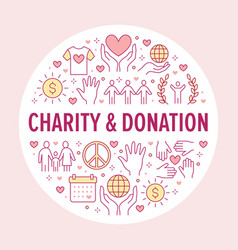 charity circle banner with flat line icons vector image