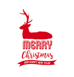 christmas text quote lettering deer vector image