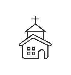 Church icon in flat style chapel on white vector