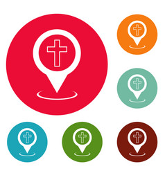 church map pointer icons circle set vector image