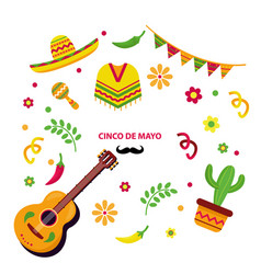 Cinco de mayo element collection vector