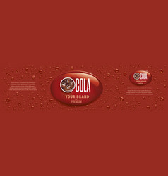 Cola drink packaging with many drops vector