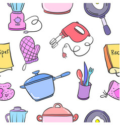 Collection of kitchen set pattern vector