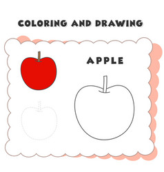 Coloring and drawing book element apple drawing vector
