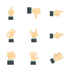 Communication gestures icons set flat style vector