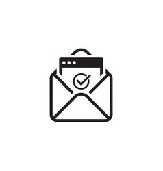 Confirmation letter icon flat design vector