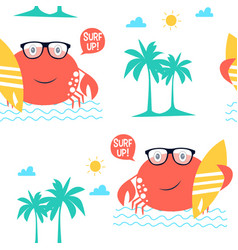 crabs seamless pattern print design vector image
