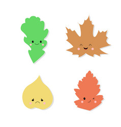 cute autumn leaves cartoon character smile vector image