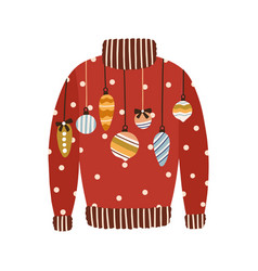 cute red comfortable sweater decorated with vector image