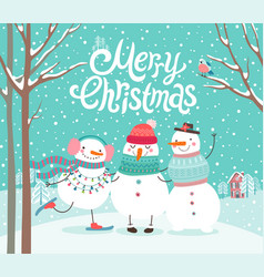 cute snowmen hugging merry christmas card vector image
