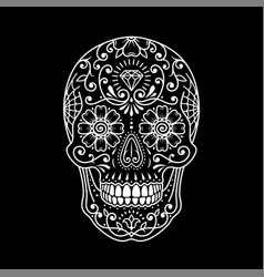decorative painted mexican sugar skull on black vector image