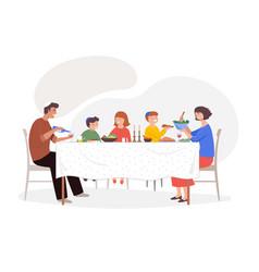Festive dinner family scene children parents and vector