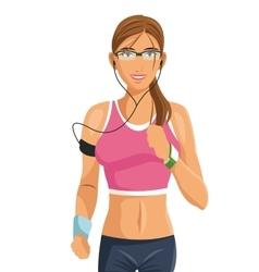 Fitness woman wearable technology digital vector