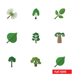 Flat icon bio set of rosemary foliage tree and vector