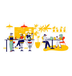 friends characters meeting in cafe or bar company vector image