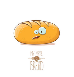 Funky cartoon cute white loaf of bread vector