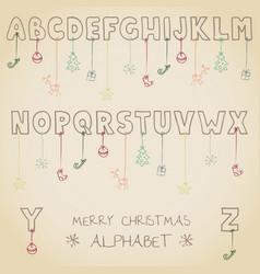 Funny christmas alphabet vector