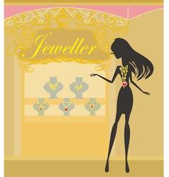 Girl and jewellerys vector