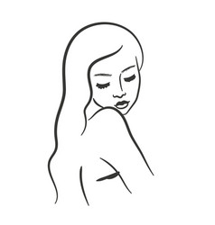 Girl line art portrait in minimalist modern style vector