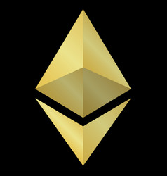 Gold ethereum icon isolated on black background vector