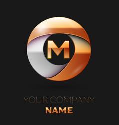 Golden letter m logo in the golden-silver circle vector