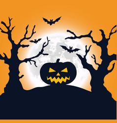 Halloween night background pumpkin and full moon vector