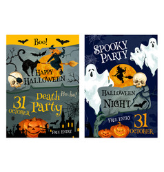 Halloween party poster of pumpkin ghost and which vector