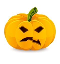 Halloween pumpkin Angry Jack-O-Lantern on a white vector