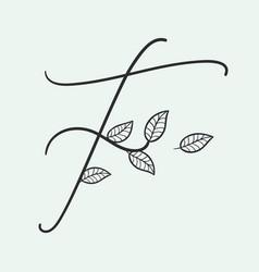 handwritten letter f monogram or logo brand vector image
