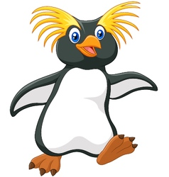 Happy cartoon penguin rockhopper cartoon vector image