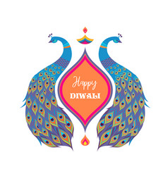 Happy diwali hindu festival banner burning diya vector