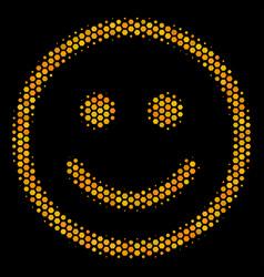 Hexagon halftone glad smiley icon vector