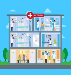 Hospital building with floors vector