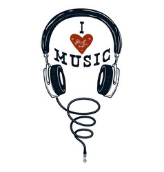 i love music hand drawn headphones design vector image
