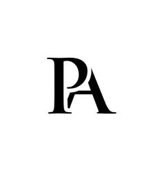 initial pa alphabet logo design template vector image
