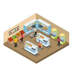 isometric supermarket interior concept vector image
